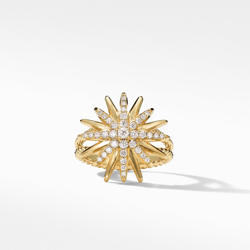 David Yurman Starburst Ring in 18K Yellow Gold with Pavé Diamonds
