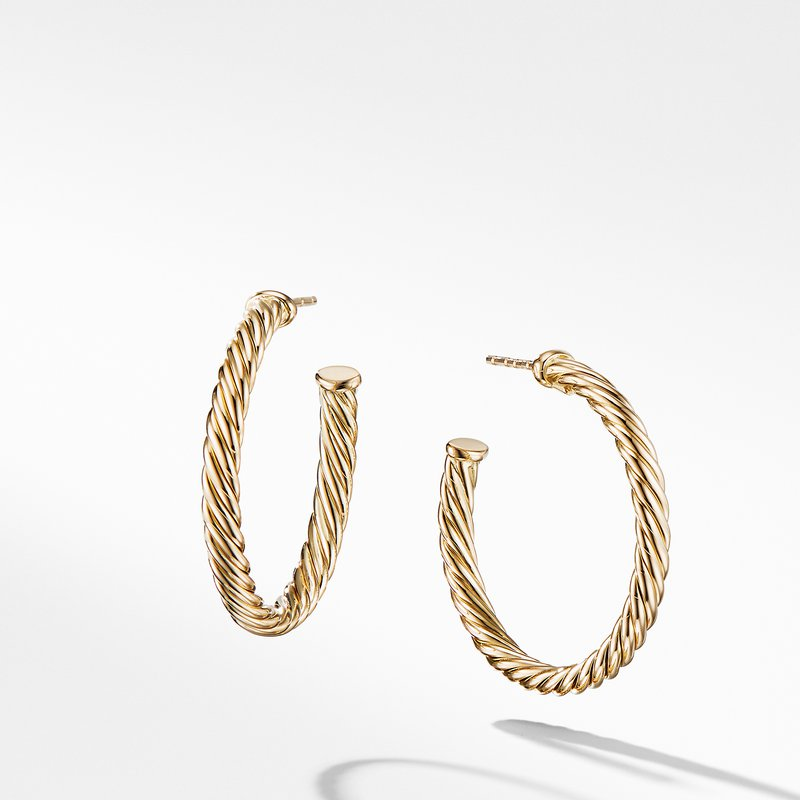 David Yurman Cablespira Hoop Earrings in 18K Yellow Gold