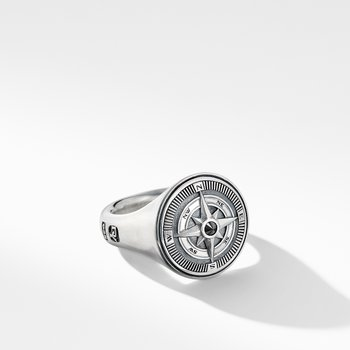 Maritime® Compass Signet Ring with Center Black Diamond