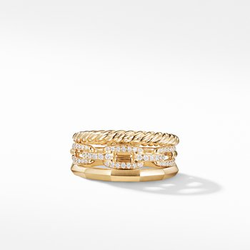 Stax Narrow Ring with Diamonds in 18K Gold