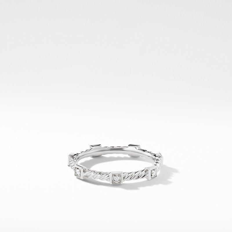 David Yurman Cable Collectibles Cable Stack Ring with Diamonds in 18K White Gold