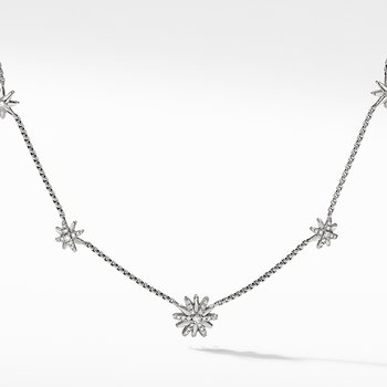 Starburst Station Chain Necklace with Diamonds