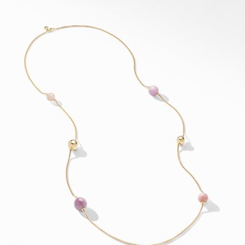 Solari XL Station Chain Necklace in 18K Yellow Gold with Kunzite, Morganite and Pink Opal