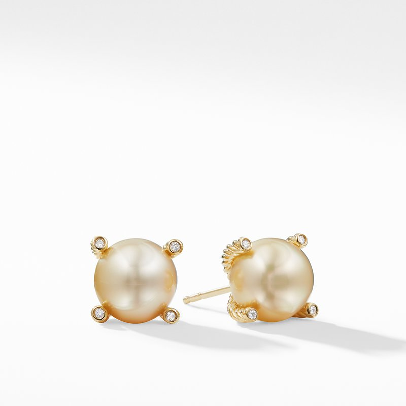 David Yurman South Sea Golden Pearl Earrings with Diamonds in 18K Gold