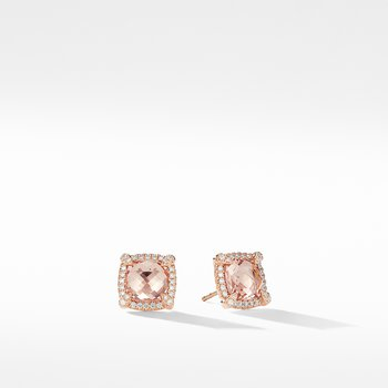 Chatelaine Pavé Bezel Stud Earrings in 18K Rose Gold with Morganite