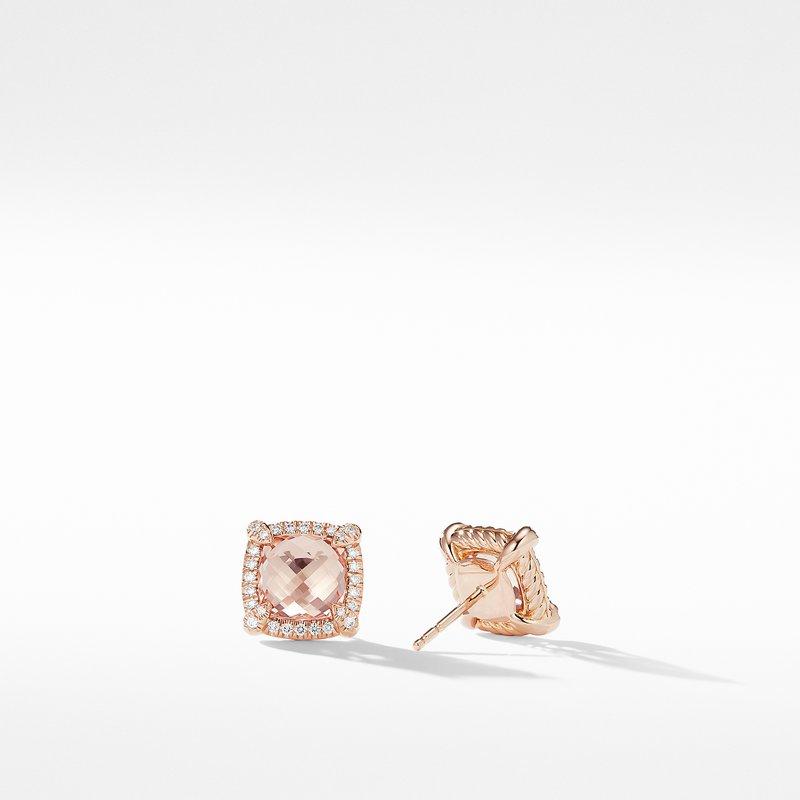 David Yurman Chatelaine Pavé Bezel Stud Earrings in 18K Rose Gold with Morganite