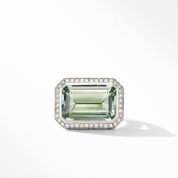 Novella Statement Ring with Prasiolite and Pavé Diamonds