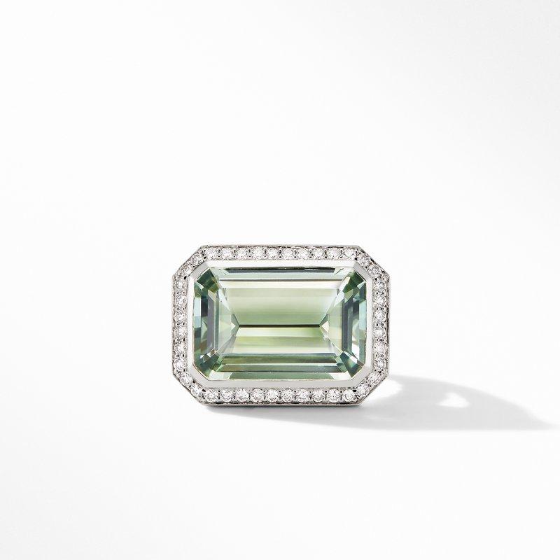 David Yurman Novella Statement Ring with Prasiolite and Pavé Diamonds