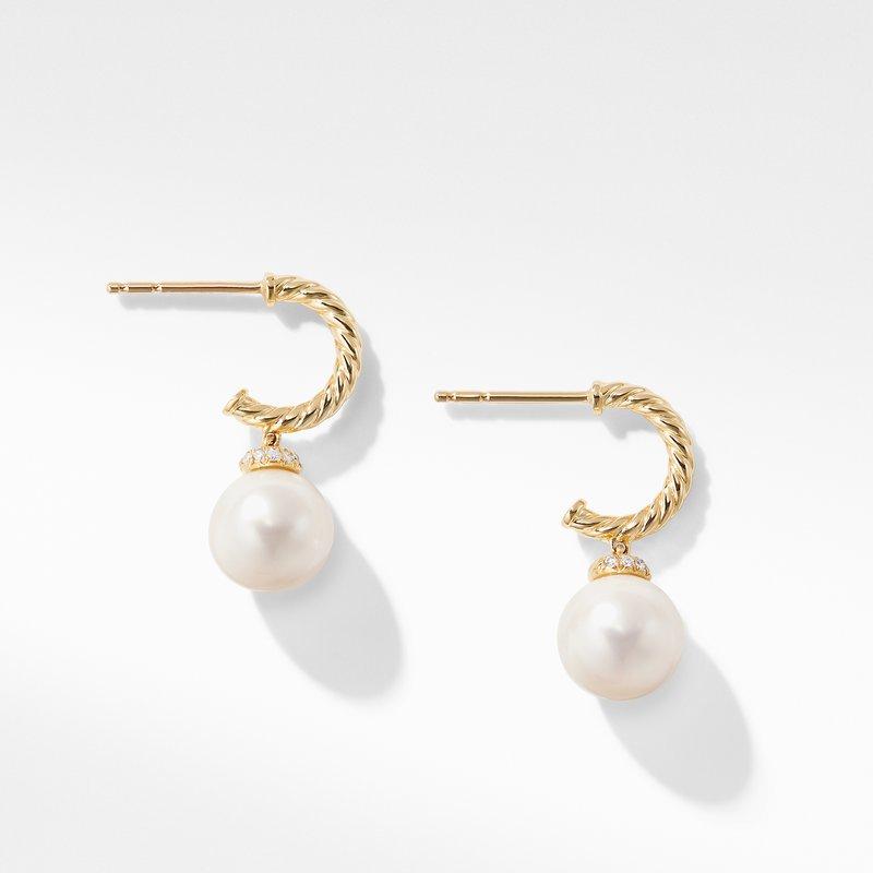 David Yurman Solari Hoop Earrings with Diamonds and Pearls in 18K Gold