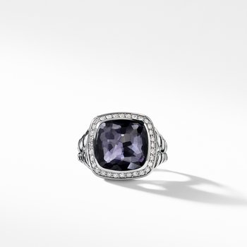 Albion® Ring with Black Orchid and Diamonds