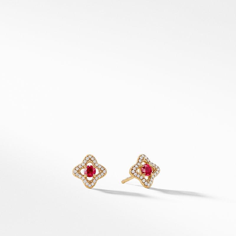 David Yurman Earrings with Rubies and Diamonds in 18K Gold