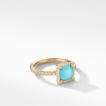 Petite Chatelaine® Pavé Bezel Ring in 18K Yellow Gold with Turquoise