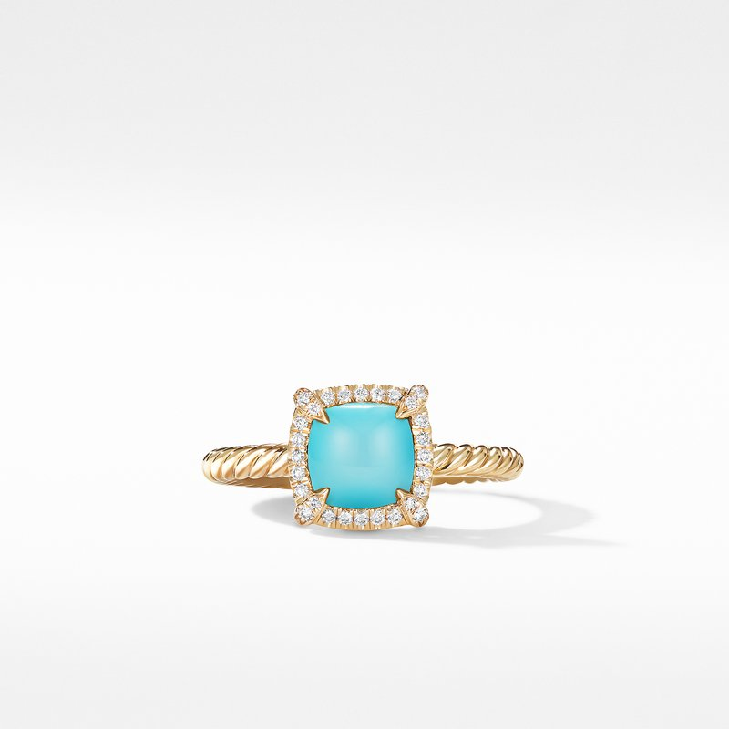 David Yurman Petite Chatelaine® Pavé Bezel Ring in 18K Yellow Gold with Turquoise