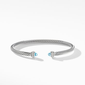 Cable Classic Bracelet with Blue Topaz and Diamonds