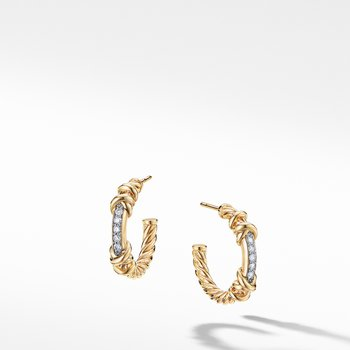 Petite Helena Hoop Earrings in 18K Yellow Gold with Diamonds