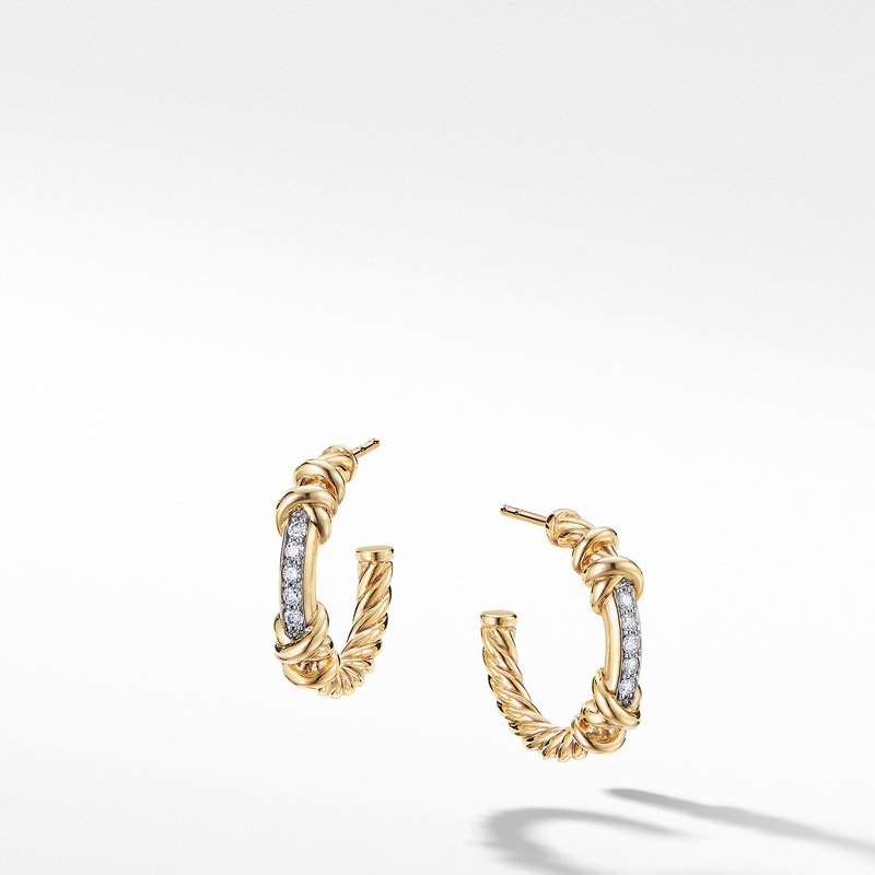 David Yurman Petite Helena Hoop Earrings in 18K Yellow Gold with Diamonds