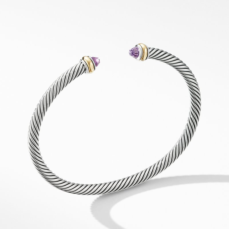 David Yurman Cable Classic Bracelet with Amethyst and 18K Yellow Gold