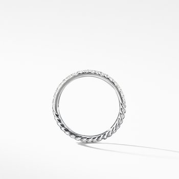 Cable Pavé Band Ring with Diamonds in 18K Gold