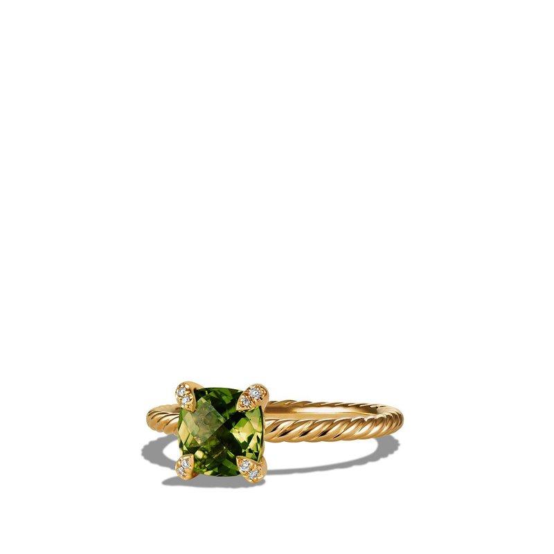 David Yurman Ring with Peridot and Diamonds in 18K Gold