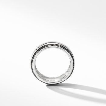 Beveled Band Ring in 18K White Gold with Black Diamonds