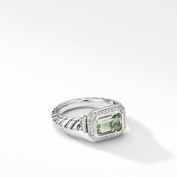 Novella Ring with Prasiolite and Pavé Diamonds