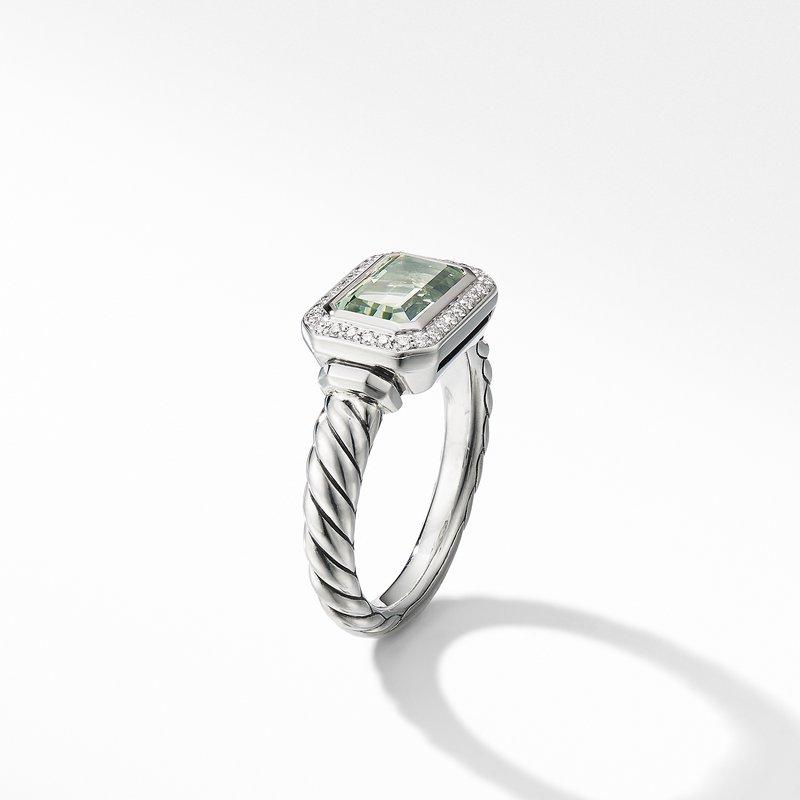 David Yurman Novella Ring with Prasiolite and Pavé Diamonds