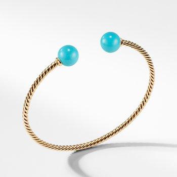 Solari Bead Bracelet with Turquoise in 18K Gold