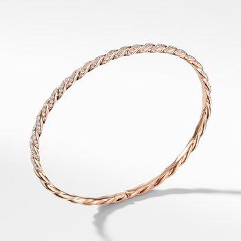 Pavéflex Single Row Bracelet with Diamonds in 18K Rose Gold