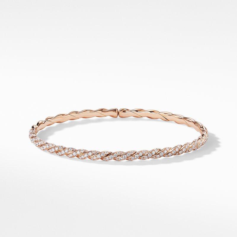 David Yurman Pavéflex Single Row Bracelet with Diamonds in 18K Rose Gold