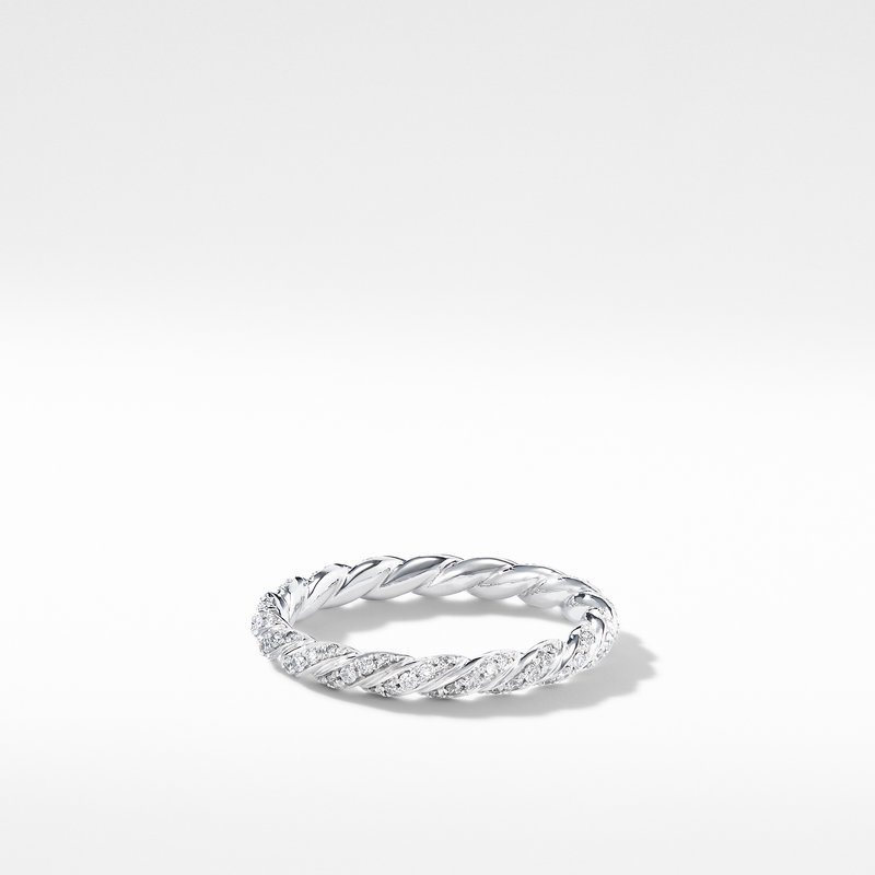 David Yurman Paveflex Ring with Diamonds in 18K White Gold, 2.7mm