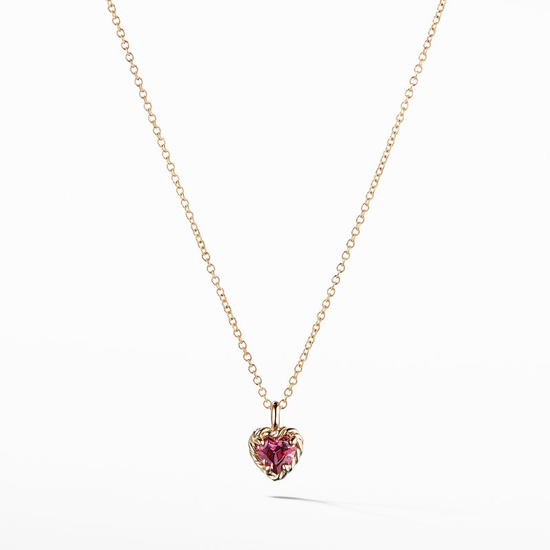 David Yurman Cable Collectibles® Kids Heart Charm Necklace with Rhodalite Garnet in 18K Gold