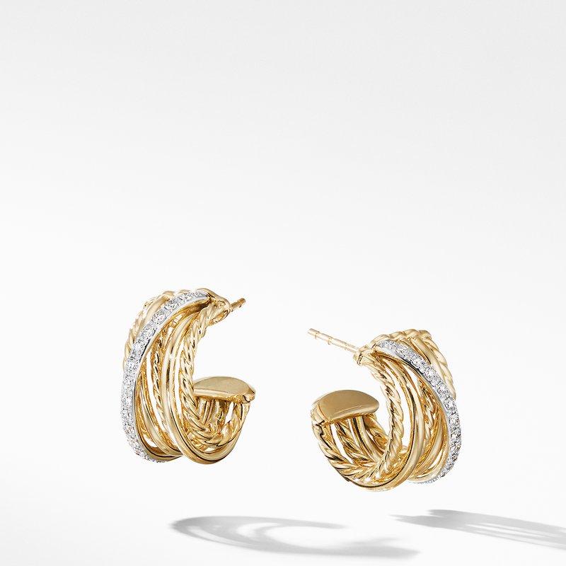 David Yurman Crossover Huggie Hoop Earrings in 18K Yellow Gold with Diamonds