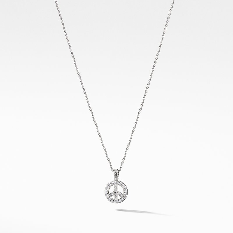 David Yurman Peace Sign Pendant Necklace with Diamonds in 18K White Gold