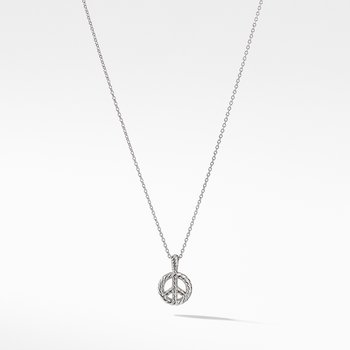 Peace Sign Pendant Necklace with Diamonds in 18K White Gold
