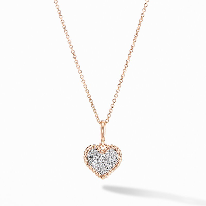 David Yurman Cable Collectibles® Pavé Plate Heart Charm Necklace in 18K Rose Gold