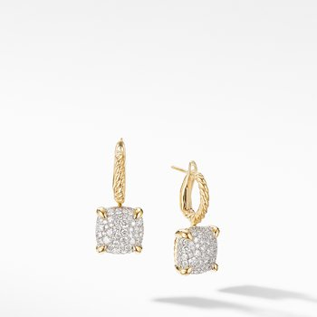 Chatelaine® Drop Earrings in 18K Yellow Gold with Full Pavé Diamonds