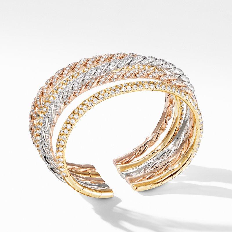David Yurman Pavflex Five Row Bracelet in 18K Gold with Diamonds