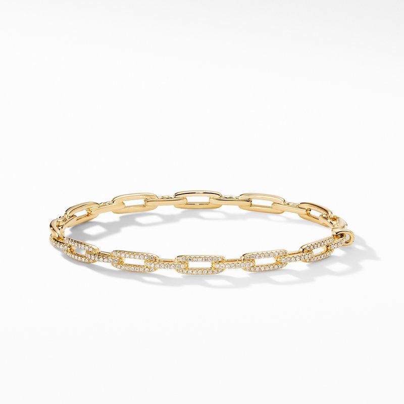 David Yurman Stax Chain Link Bracelet with Diamonds in 18K Gold