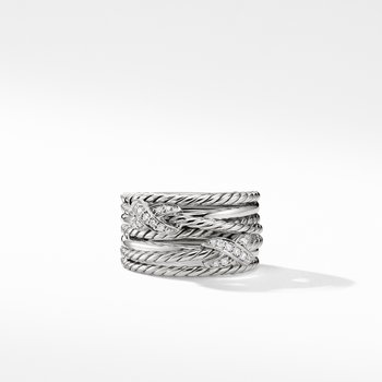 Double X Crossover Ring with Diamonds