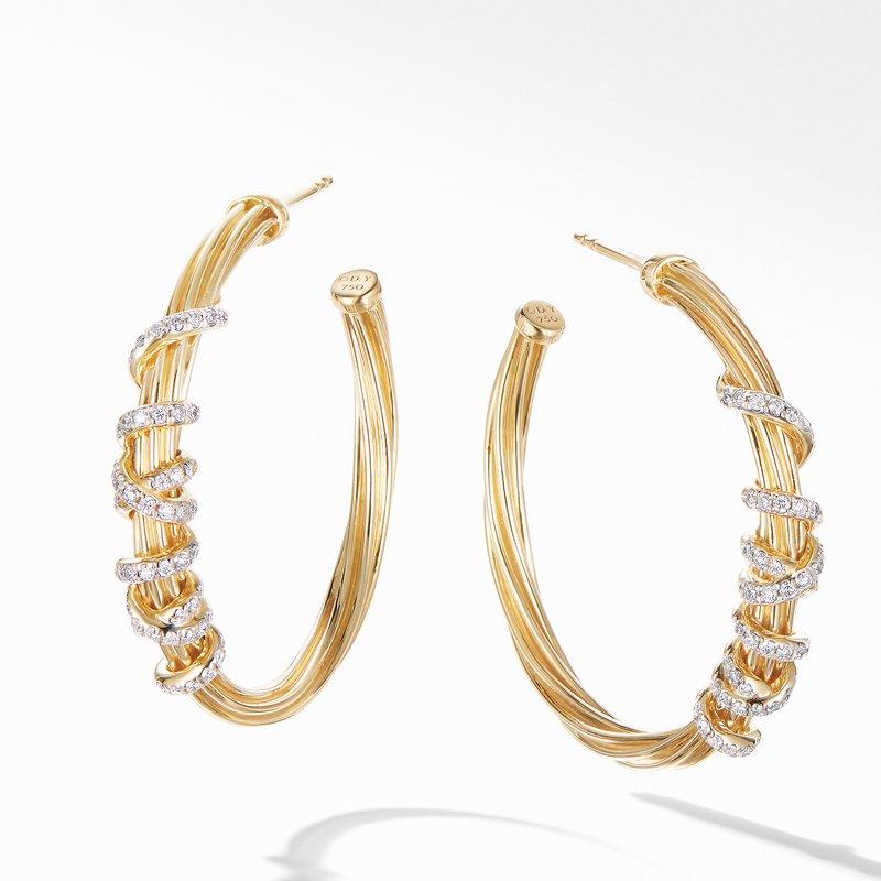 David Yurman Helena Large Hoop Earring in 18K Yellow Gold with Diamonds