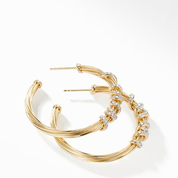 Helena Large Hoop Earring in 18K Yellow Gold with Diamonds