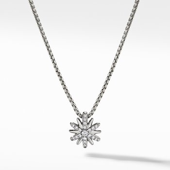 Petite Starburst Station Necklace with Diamonds