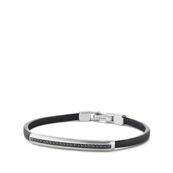 Pavé Leather ID Bracelet with Black Diamonds