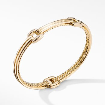 Thoroughbred® Double Link Bracelet in 18K Yellow Gold with Diamonds