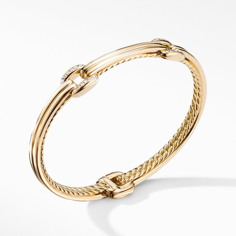 David Yurman Thoroughbred® Double Link Bracelet in 18K Yellow Gold with Diamonds