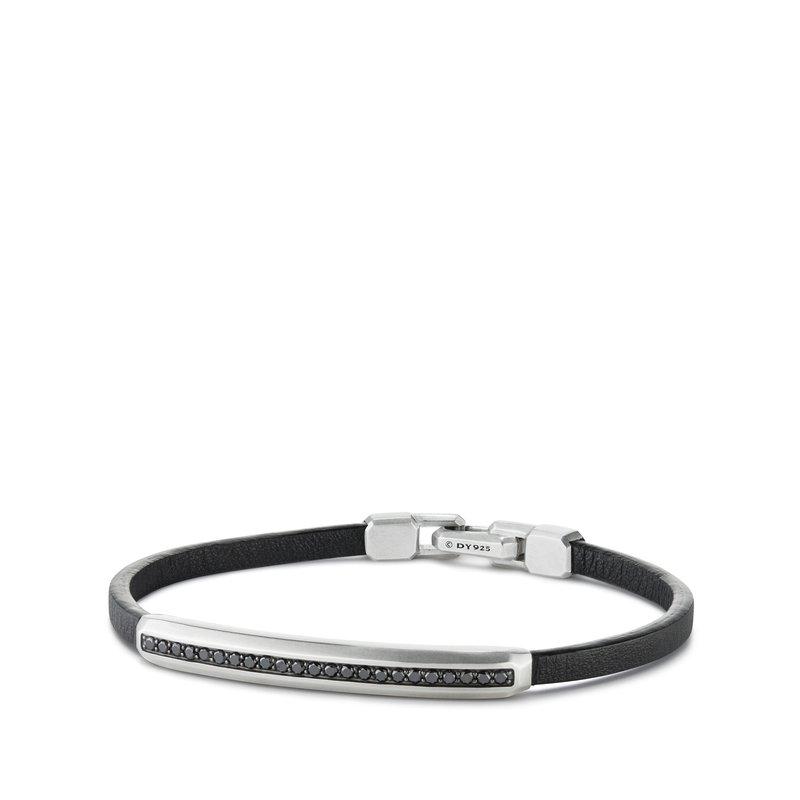 David Yurman Pavé Leather ID Bracelet with Black Diamonds