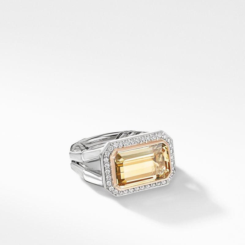David Yurman Novella Statement Ring with Champagne Citrine, Pavé Diamonds and 18K Rose Gold