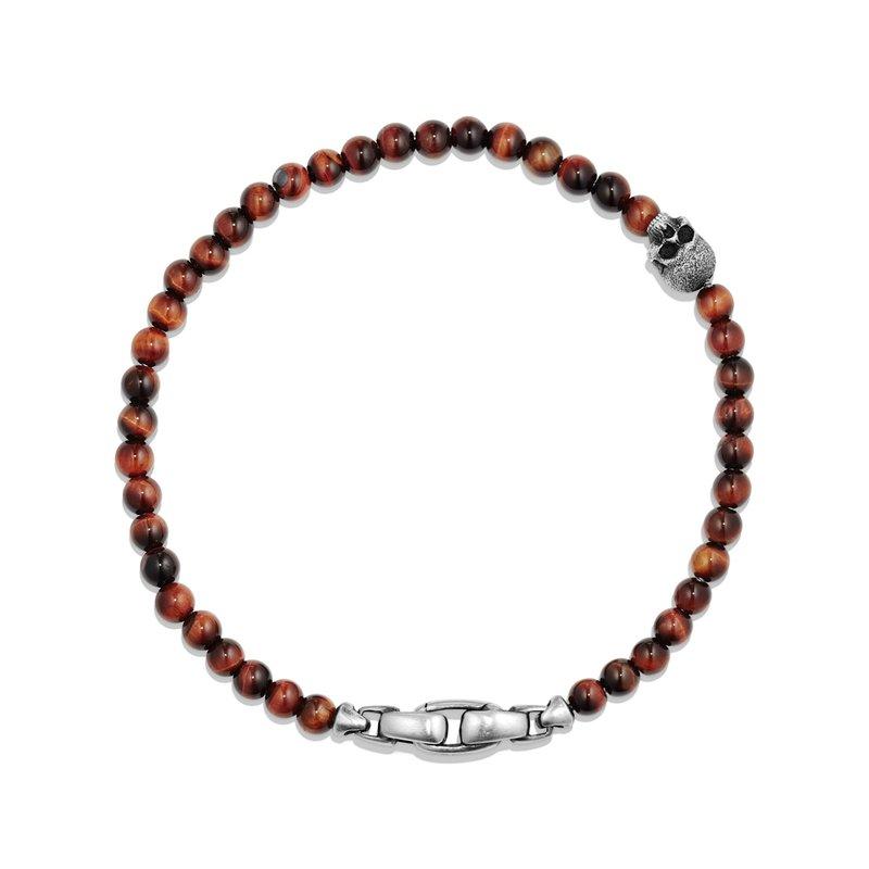 David Yurman Spiritual Beads Skull Bracelet with Red Tigers Eye
