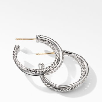 The Crossover Collection® Medium Hoop Earrings with Diamonds