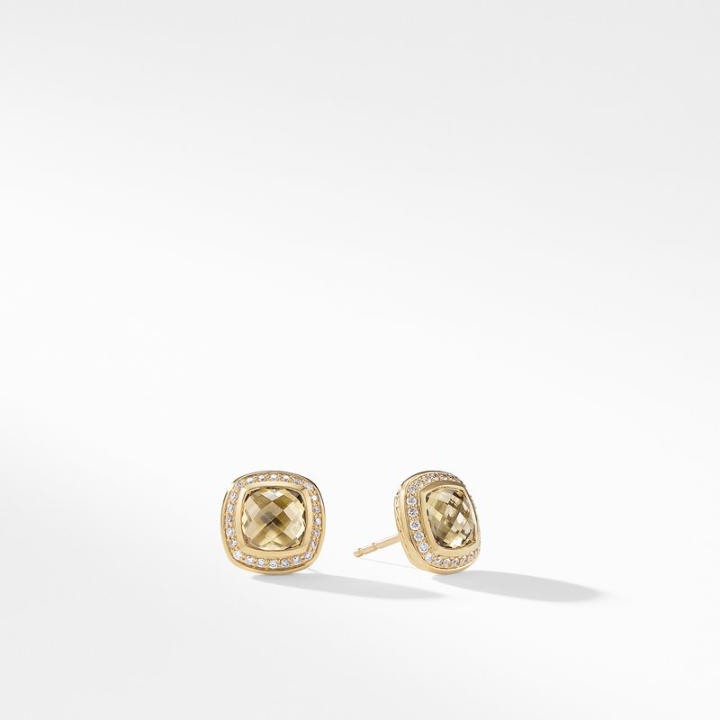 David Yurman Albion Earrings with Champagne Citrine and Diamonds in Gold